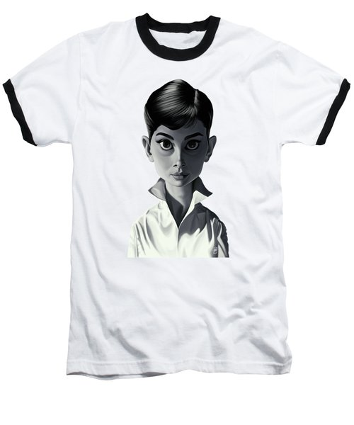 Celebrity Sunday - Audrey Hepburn Baseball T-Shirt by Rob Snow