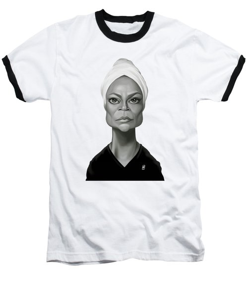 Celebrity Sunday - Eartha Kitt Baseball T-Shirt by Rob Snow