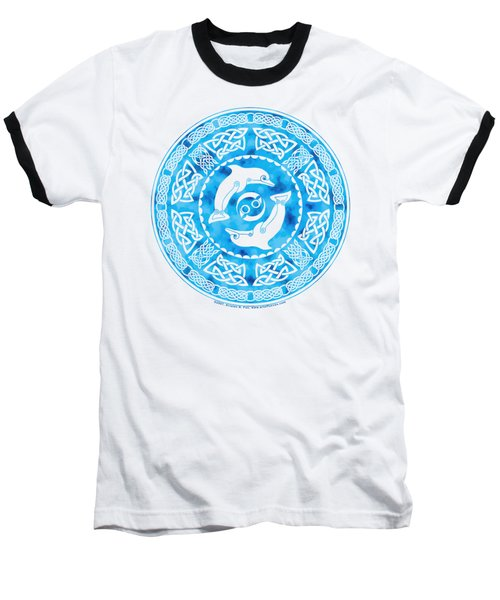 Baseball T-Shirt featuring the mixed media Celtic Dolphins by Kristen Fox