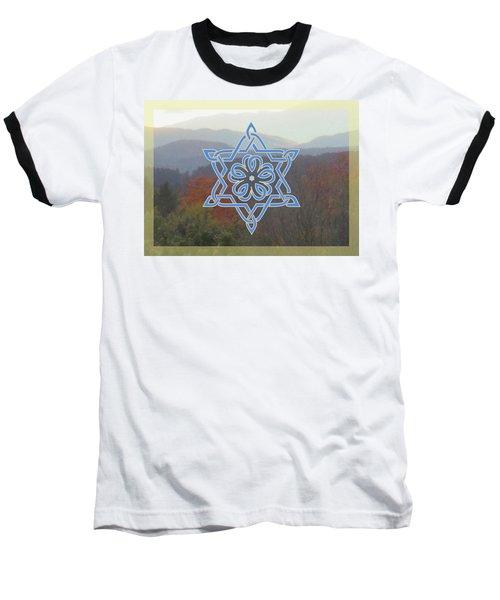 Celtic Hexagram Rose In Blue Baseball T-Shirt