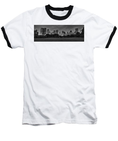 Baseball T-Shirt featuring the photograph Central Park Skyline Pano 001 Bw by Lance Vaughn
