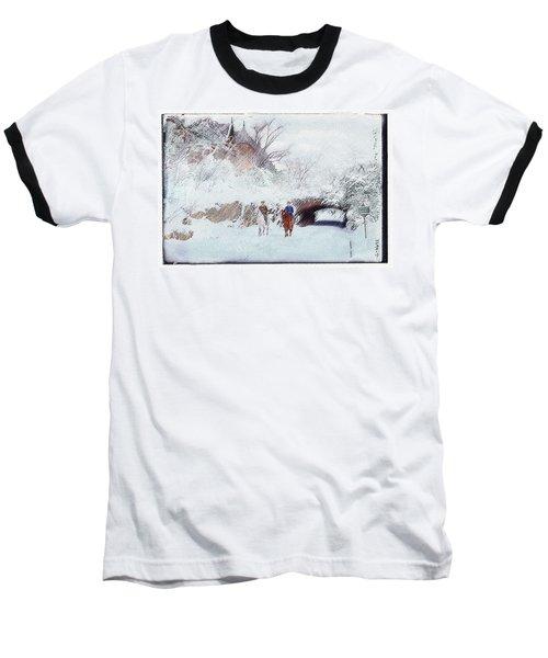 Central Park Snow Baseball T-Shirt