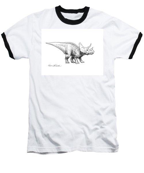 Cera The Triceratops - Dinosaur Ink Drawing Baseball T-Shirt
