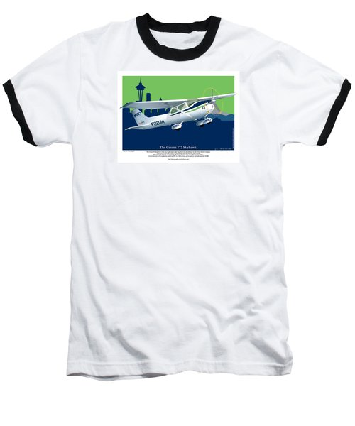 Baseball T-Shirt featuring the drawing Cessna Skyhawk 172 by Kenneth De Tore