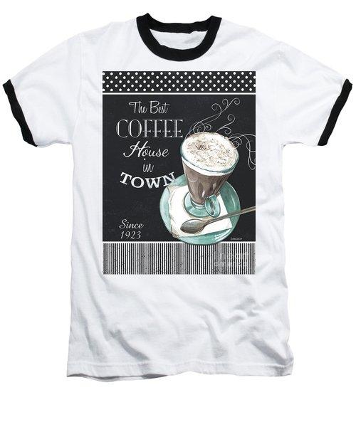 Baseball T-Shirt featuring the painting Chalkboard Retro Coffee Shop 2 by Debbie DeWitt
