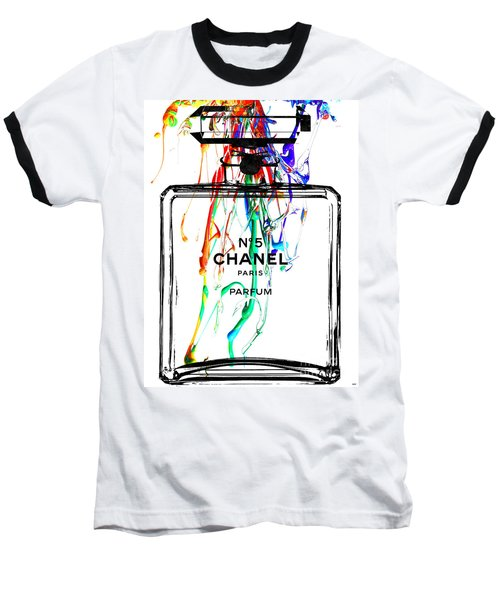 Chanel No. 5 Watercolor Baseball T-Shirt by Daniel Janda