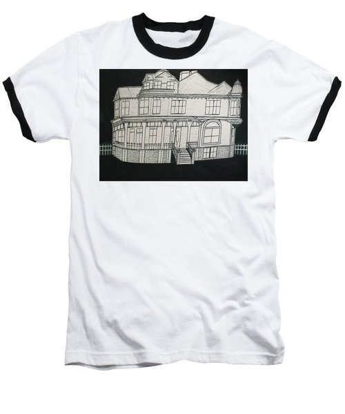 Baseball T-Shirt featuring the drawing Charles A. Spies Historical Menominee Home. by Jonathon Hansen