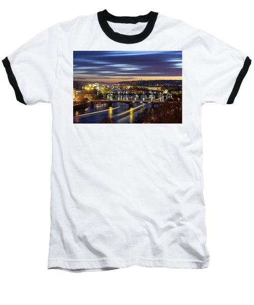 Charles Bridge During Sunset With Several Boats, Prague, Czech Republic Baseball T-Shirt