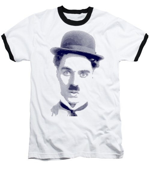 Charlie Chaplin - Cross Hatching In Blue Baseball T-Shirt