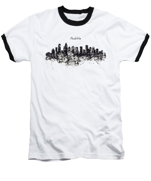 Charlotte Watercolor Skyline Black And White Baseball T-Shirt