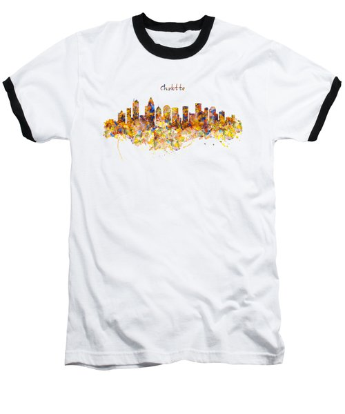 Charlotte Watercolor Skyline Baseball T-Shirt