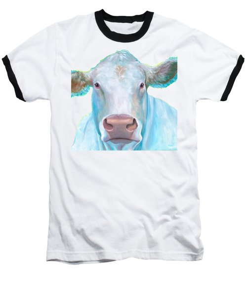Charolais Cow Painting On White Background Baseball T-Shirt by Jan Matson