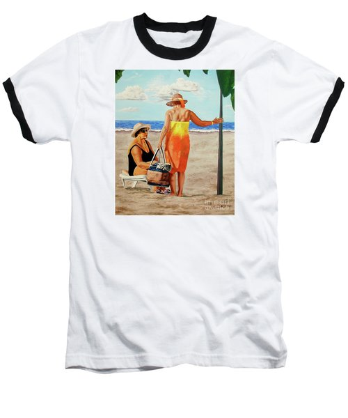 Chat On The Beach - Chat En La Playa Baseball T-Shirt
