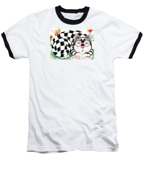 Baseball T-Shirt featuring the drawing Checkers by Dee Davis