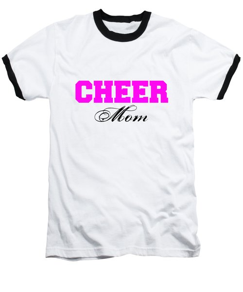 Cheer Mom Typography In Pink And Black Baseball T-Shirt