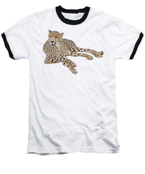 Cheetah Resting, Isolated On White Background, Cartoon Style #1 Baseball T-Shirt