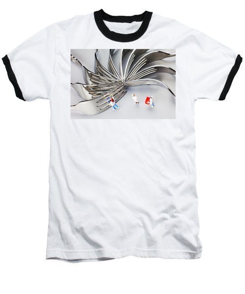 Baseball T-Shirt featuring the photograph Chef And Forks Little People On Food  by Paul Ge