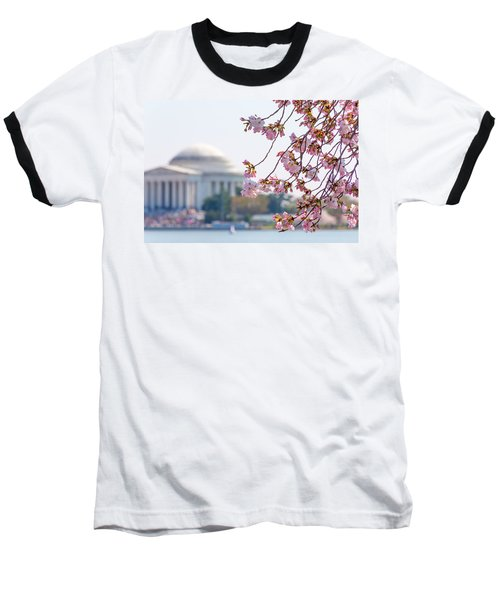 Cherry Blossoms And Jefferson Memorial Baseball T-Shirt