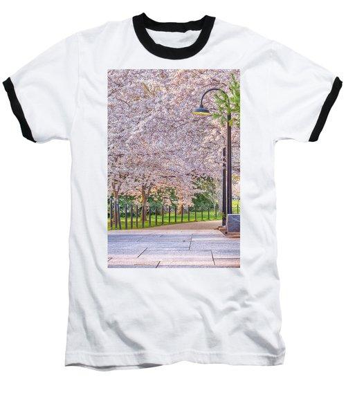 Cherry Morning Path Baseball T-Shirt by David Cote