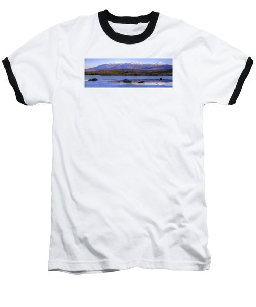 Cherry Pond Reflections Panorama Baseball T-Shirt