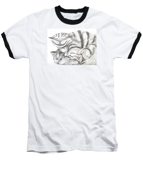 Baseball T-Shirt featuring the drawing Chershire Cat  by Meagan  Visser