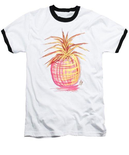 Chic Pink Metallic Gold Pineapple Fruit Wall Art Aroon Melane 2015 Collection By Madart Baseball T-Shirt by Megan Duncanson