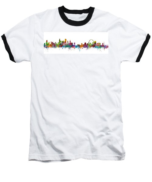 Chicago And St Louis Skyline Mashup Baseball T-Shirt by Michael Tompsett