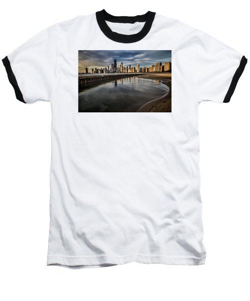 Chicago Beach And Skyline With A Person For Scale Baseball T-Shirt
