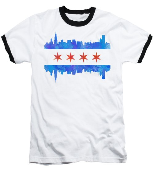 Chicago Flag Watercolor Baseball T-Shirt