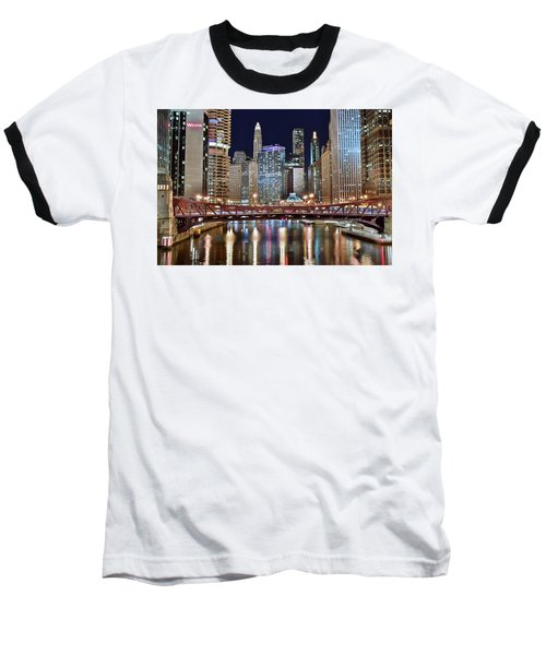 Chicago Full City View Baseball T-Shirt by Frozen in Time Fine Art Photography