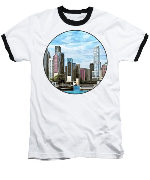 Chicago Il - Chicago Harbor Lock Baseball T-Shirt by Susan Savad