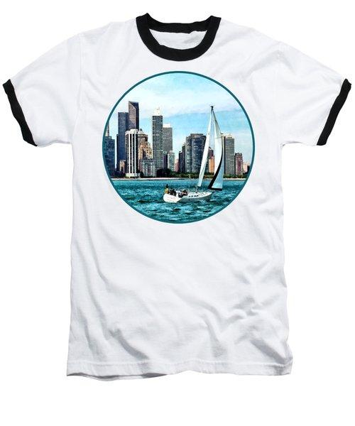 Chicago Il - Sailboat Against Chicago Skyline Baseball T-Shirt