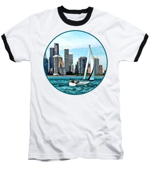 Chicago Il - Sailboat Against Chicago Skyline Baseball T-Shirt by Susan Savad