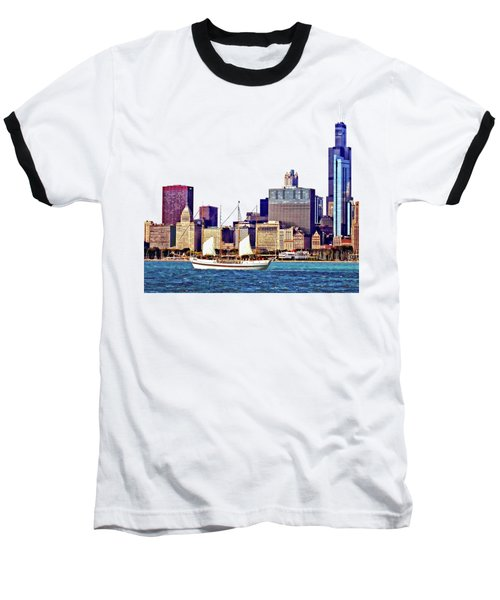 Chicago Il - Schooner Against Chicago Skyline Baseball T-Shirt by Susan Savad