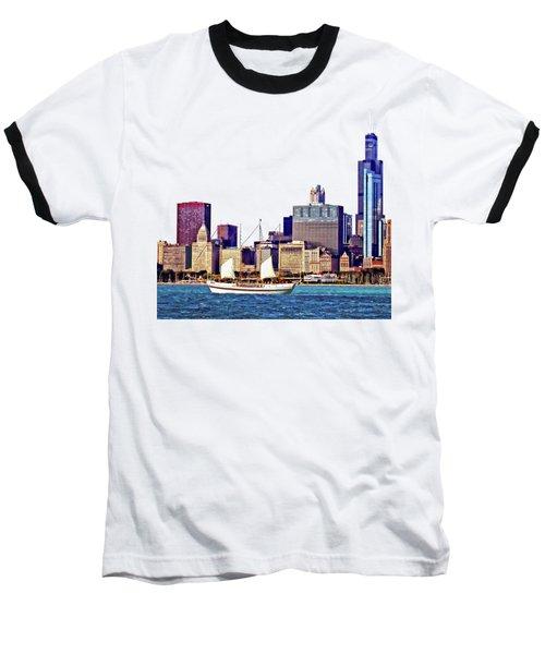 Chicago Il - Schooner Against Chicago Skyline Baseball T-Shirt