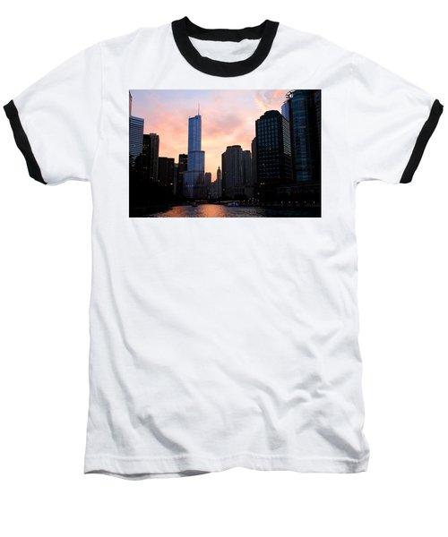 Chicago Skyline At Dusk Baseball T-Shirt