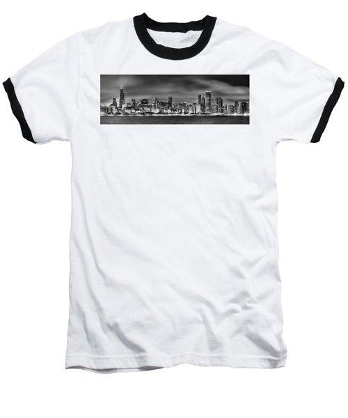 Chicago Skyline At Night Black And White Baseball T-Shirt