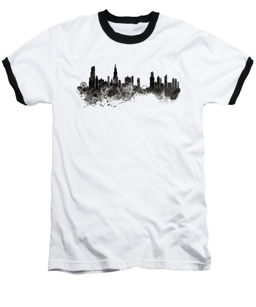 Chicago Skyline Black And White Baseball T-Shirt by Marian Voicu