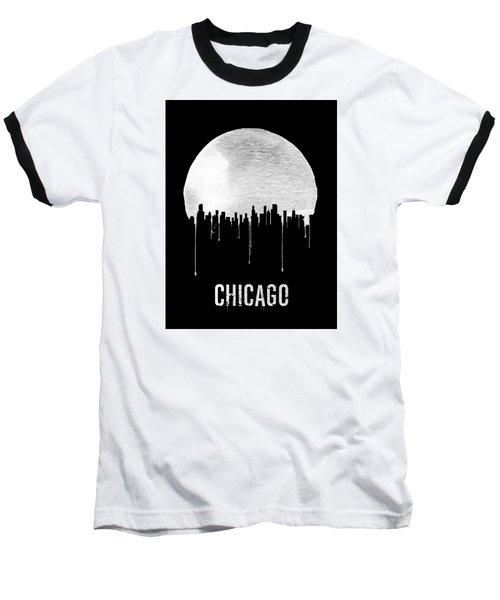Chicago Skyline Black Baseball T-Shirt by Naxart Studio