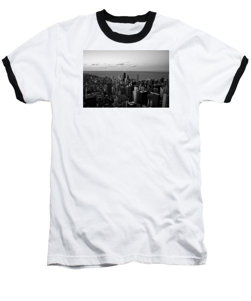 Chicago Skyline Bw Baseball T-Shirt