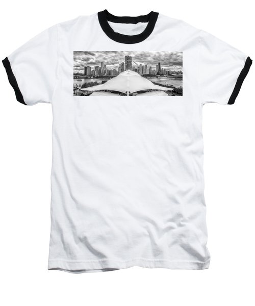 Baseball T-Shirt featuring the photograph Chicago Skyline From Navy Pier Black And White by Adam Romanowicz