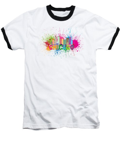 Chicago Skyline Paint Splatter Text Illustration Baseball T-Shirt