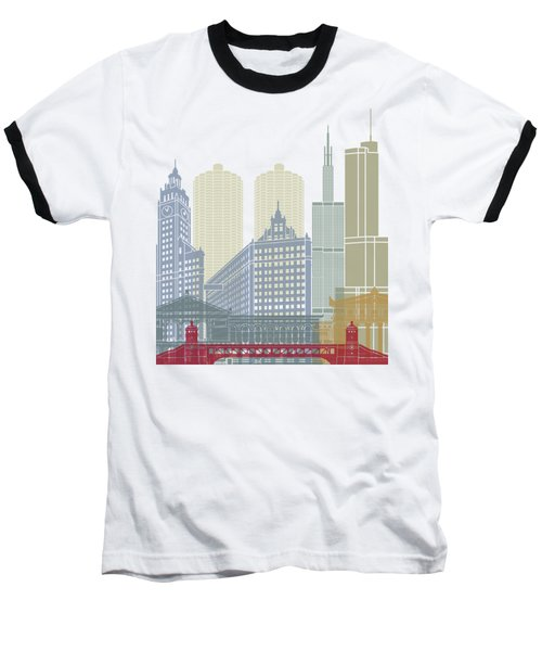 Chicago Skyline Poster Baseball T-Shirt by Pablo Romero