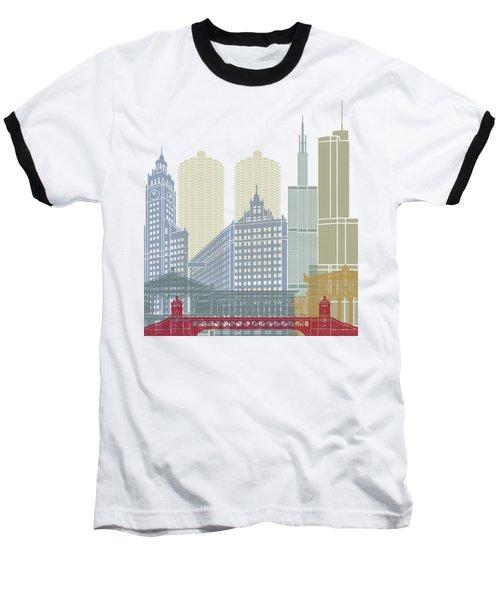 Chicago Skyline Poster Baseball T-Shirt