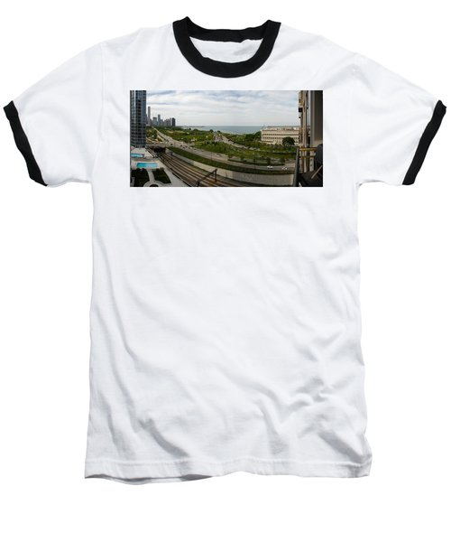 Chicago Skyline Showing Monroe Harbor Baseball T-Shirt