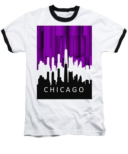 Chicago Violet In Negative Baseball T-Shirt by Alberto RuiZ