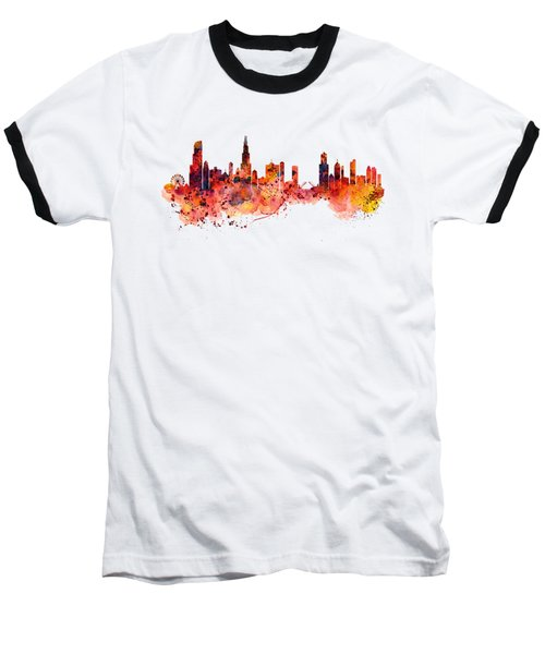 Chicago Watercolor Skyline Baseball T-Shirt