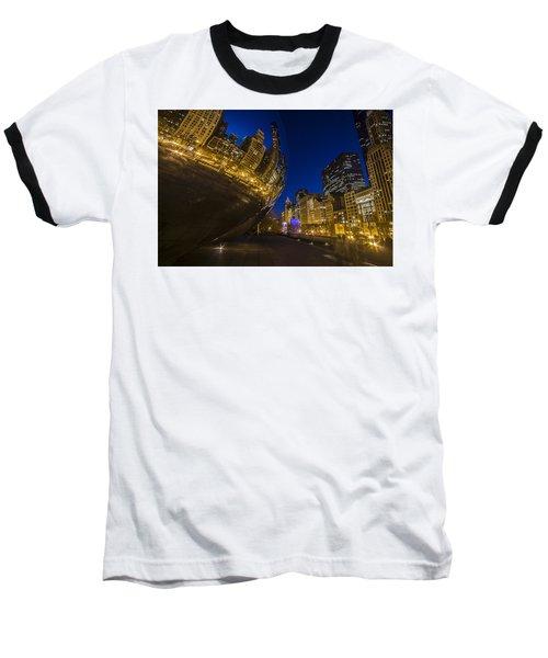 Chicago's Millenium Park At Dusk Baseball T-Shirt