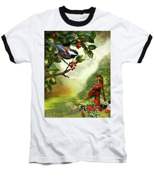 Chickadee Visiting The Water Pump Baseball T-Shirt by Regina Femrite