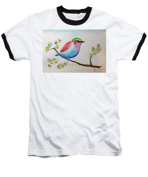 Chickadee With Green Head On A Branch Baseball T-Shirt